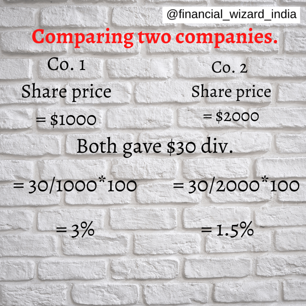 Comparing two companies for calculating dividend yield.